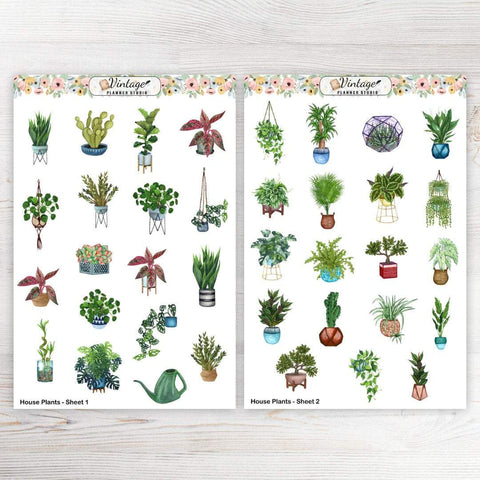 House Plants Planner Stickers - Vintage Planner Studio