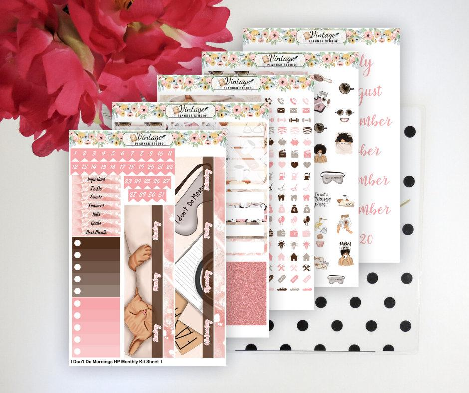 I Don't Do Mornings Monthly Kit | Classic Happy Planner - Vintage Planner Studio