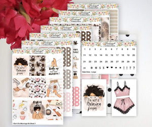 I Don't Do Mornings Weekly Sticker Kit | EC Style | VERTICAL | 7 Sheet Kit Plus Date Dots & Die Cuts - Vintage Planner Studio