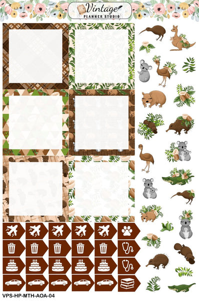 Aussie Outback Animals Monthly Kit | Classic Happy Planner - Vintage Planner Studio