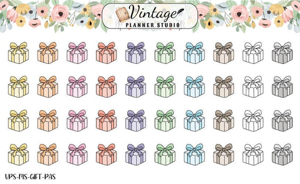 Gifts Mini Icon Planner Stickers - Vintage Planner Studio