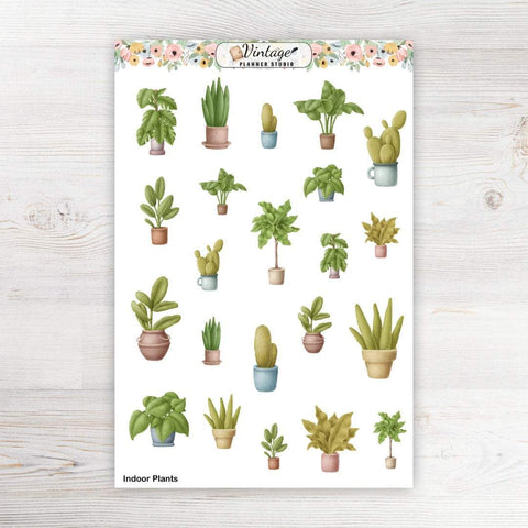 Indoor Plants Clipart Planner Stickers - Vintage Planner Studio