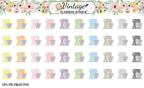 Kitchen Mixers Mini Icon Planner Stickers - Vintage Planner Studio