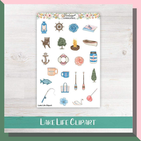 Lake Life Clipart Planner Stickers - Vintage Planner Studio