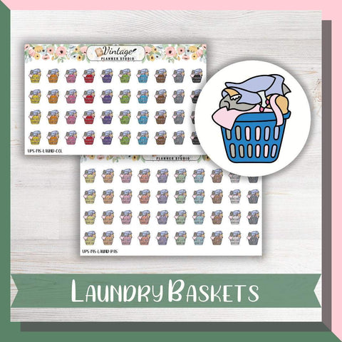 Laundry Basket Mini Icon Planner Stickers - Vintage Planner Studio