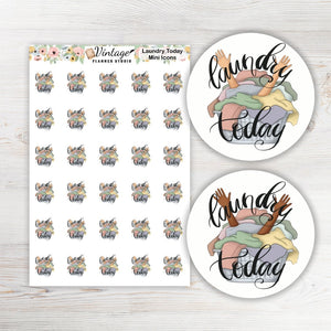 Laundry Today Mini Icon Planner Stickers - Vintage Planner Studio