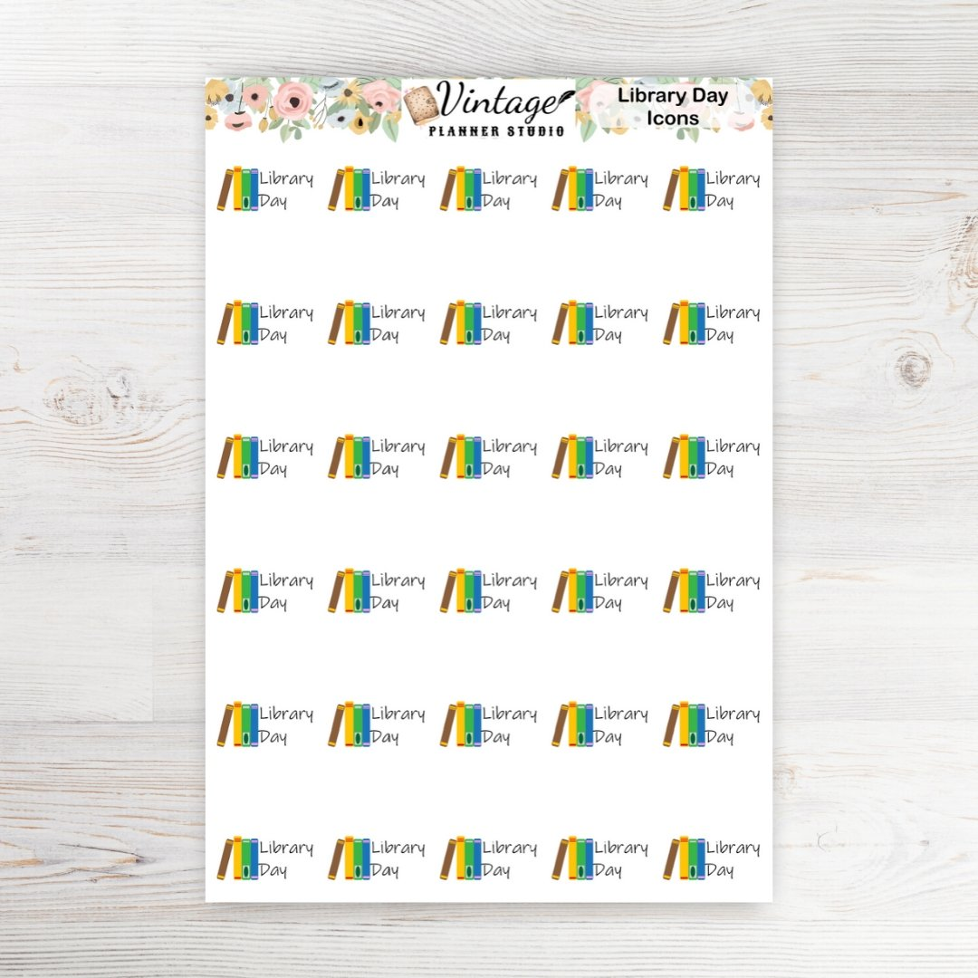 Library Day Planner Stickers - Vintage Planner Studio