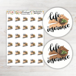 Life Insurance Mini Icon Planner Stickers - Vintage Planner Studio