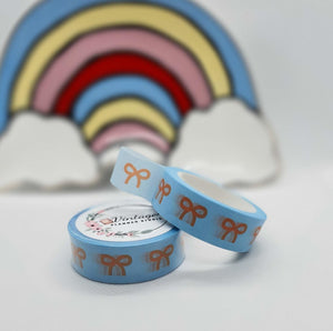 Light Blue Bow Washi Tape - Vintage Planner Studio