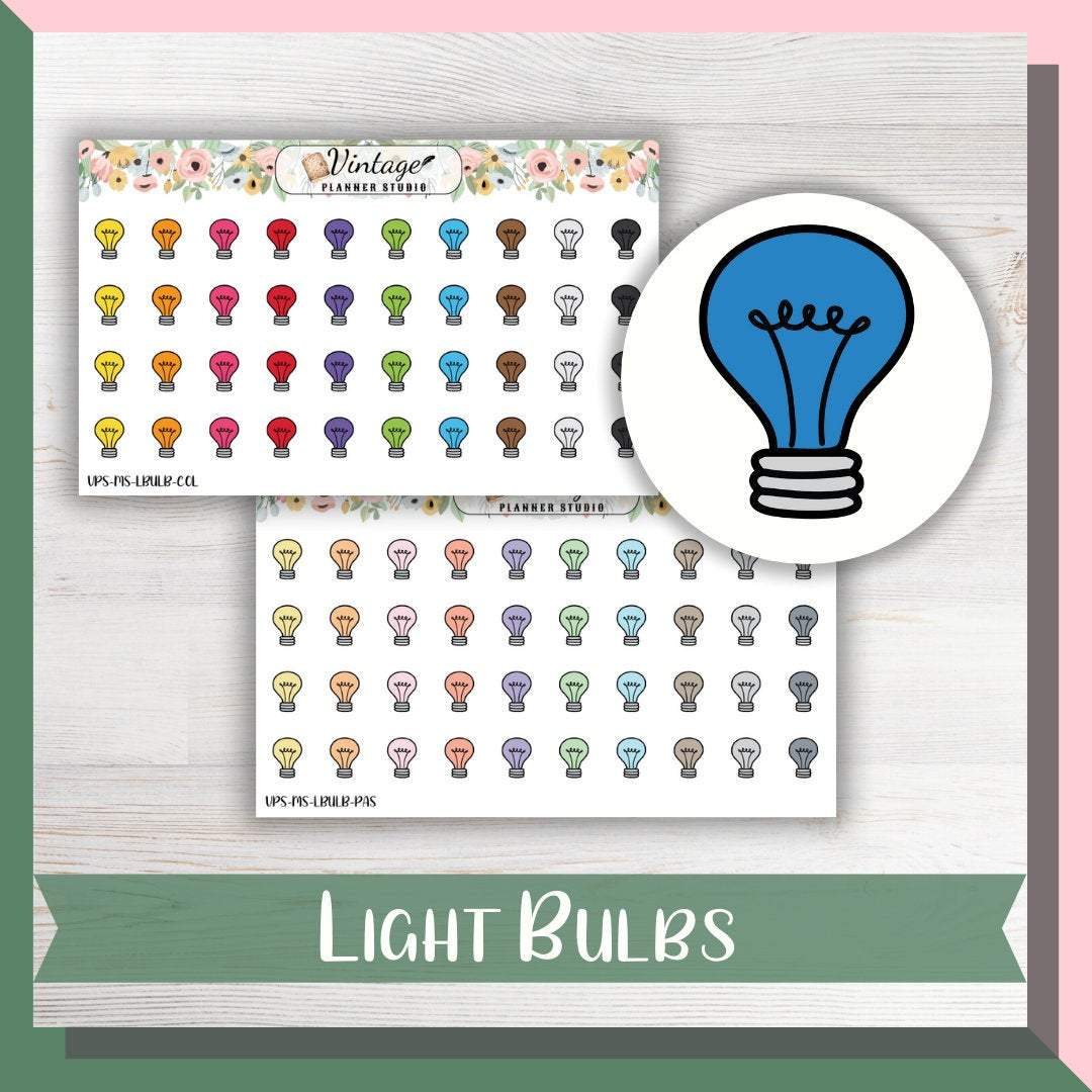 Light Bulbs Mini Icon Planner Stickers - Vintage Planner Studio