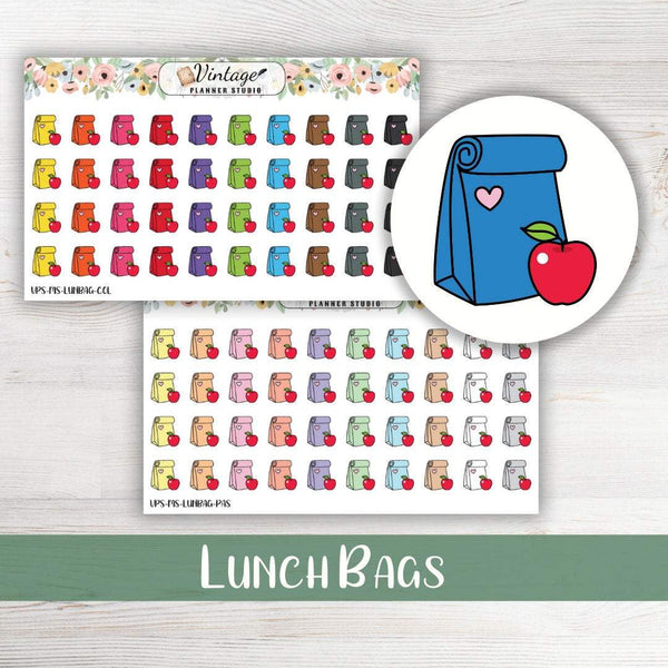 Lunch Bags Mini Icon Planner Stickers - Vintage Planner Studio