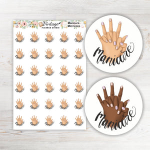 Manicure Mini Icon Planner Stickers - Vintage Planner Studio