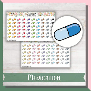 Medication Mini Icon Planner Stickers - Vintage Planner Studio