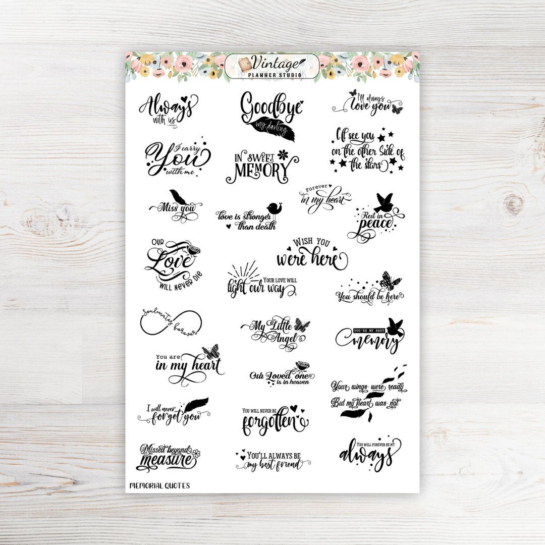 Memorial Quotes Planner Stickers - Vintage Planner Studio