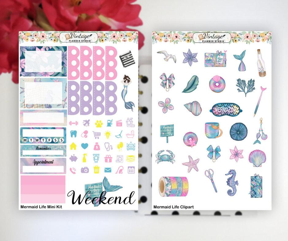 Mermaid Life Mini Kit | Planner Stickers - Vintage Planner Studio