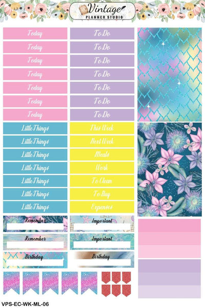Mermaid Life Weekly Sticker Kit | EC Style | VERTICAL | 7 Sheet Kit Plus Date Dots & Die Cuts - Vintage Planner Studio