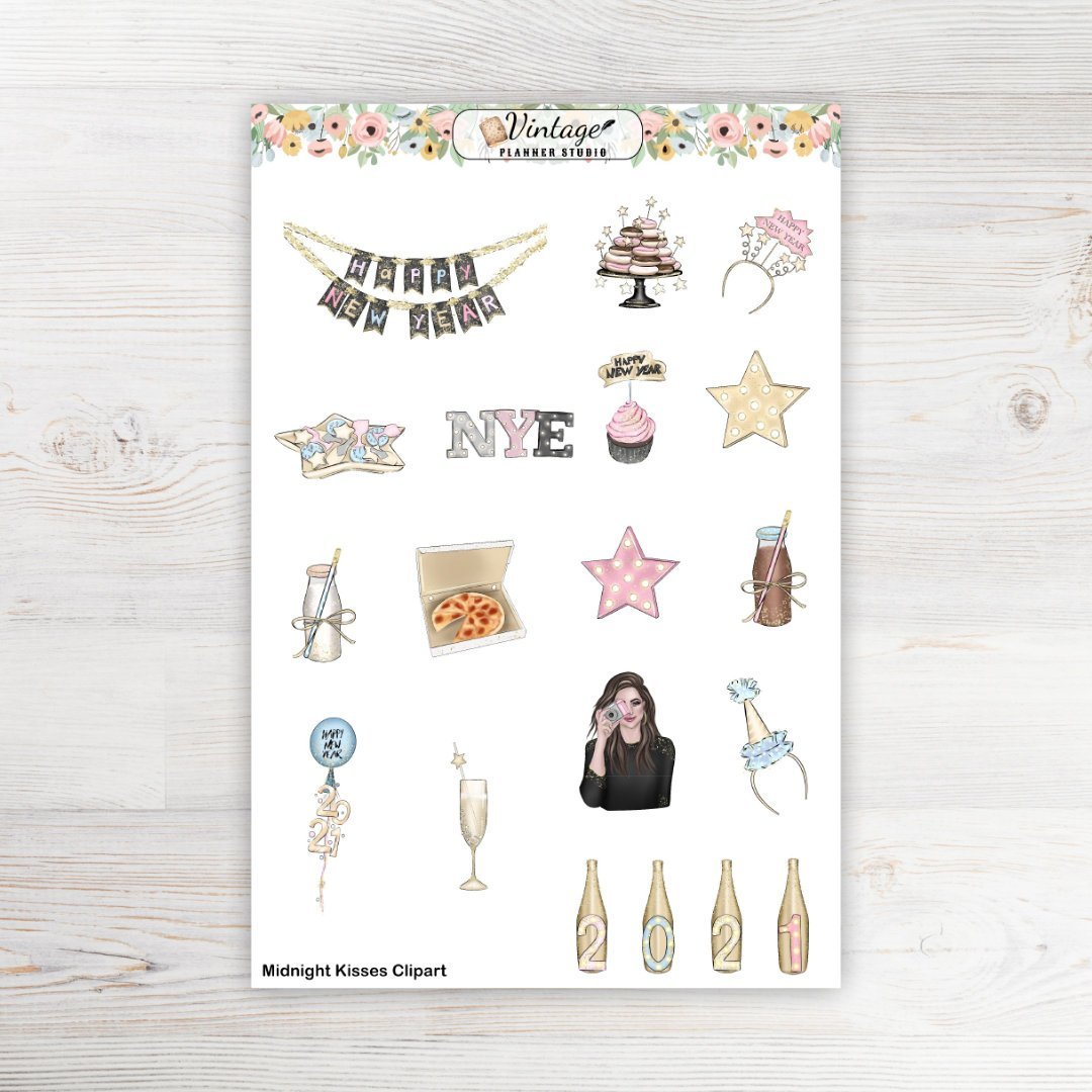 Midnight Kisses Clipart Planner Stickers - Vintage Planner Studio