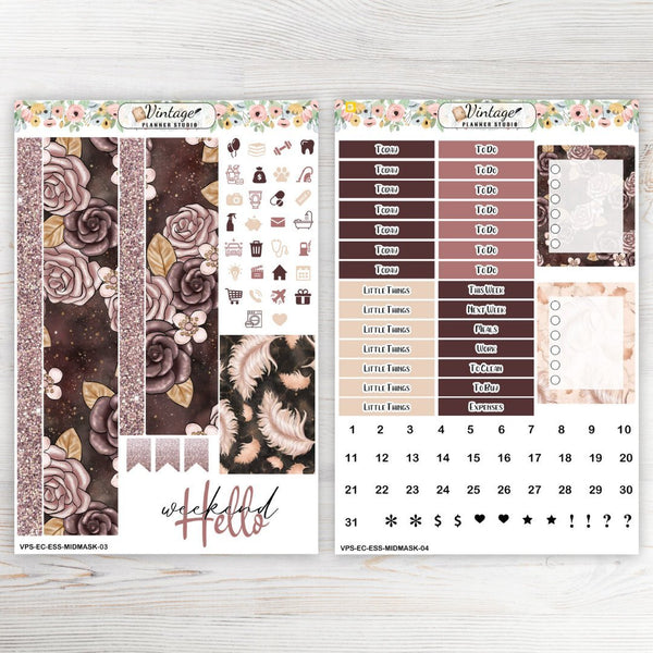 Midnight Masquerade Essentials Weekly Sticker Kit | EC Style | VERTICAL | 4 Sheet Kit - Vintage Planner Studio