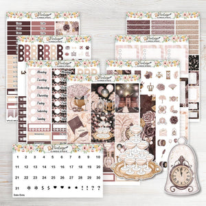 Midnight Masquerade Weekly Sticker Kit | EC Style | VERTICAL | 7 Sheet Kit Plus Date Dots & Die Cuts - Vintage Planner Studio
