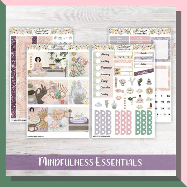 Mindfulness Essentials Weekly Sticker Kit | EC Style | VERTICAL | 4 Sheet Kit - Vintage Planner Studio