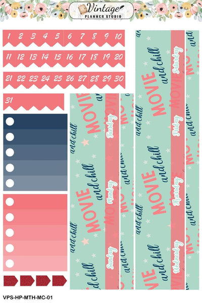 Movies and Chill Monthly Kit | Classic Happy Planner - Vintage Planner Studio