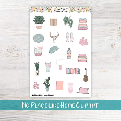 No Place Like Home Clipart Planner Stickers - Vintage Planner Studio