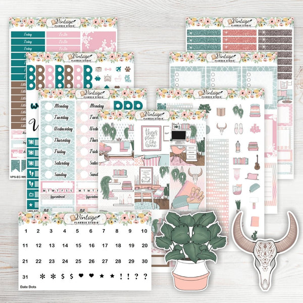 No Place Like Home Weekly Sticker Kit | EC Style | VERTICAL | 7 Sheet Kit Plus Date Dots & Die Cuts - Vintage Planner Studio