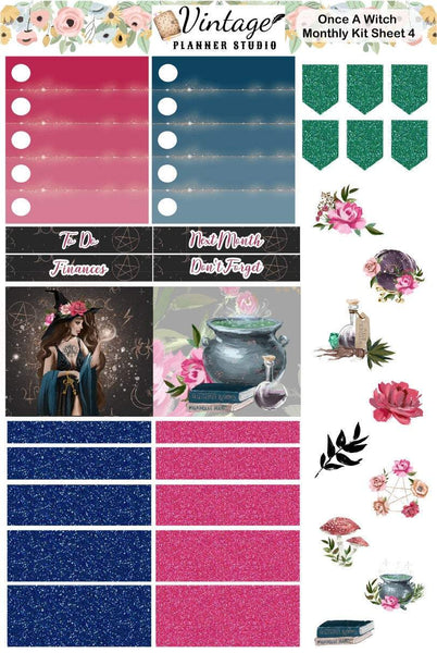Once A Witch Monthly Kit | Erin Condren Vertical - Vintage Planner Studio