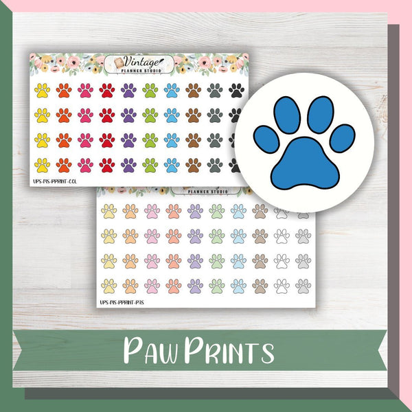 Paw Print Mini Icon Planner Stickers - Vintage Planner Studio