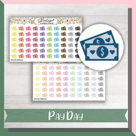 Pay Day Mini Icon Planner Stickers - Vintage Planner Studio
