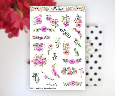 Pink & Purple Little Garden Collection Clipart Planner Stickers - Vintage Planner Studio