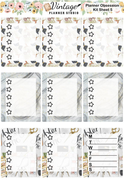 Planner Obsession Sticker Kit | EC Style | VERTICAL | 7 Sheet Kit Plus Date Dots & Die Cuts - Vintage Planner Studio