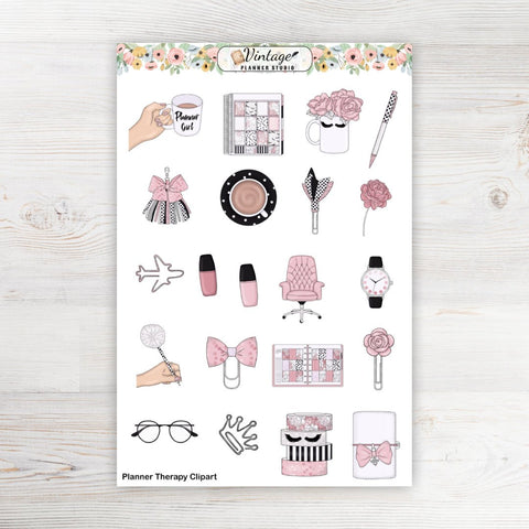 Planner Therapy Clipart Planner Stickers - Vintage Planner Studio