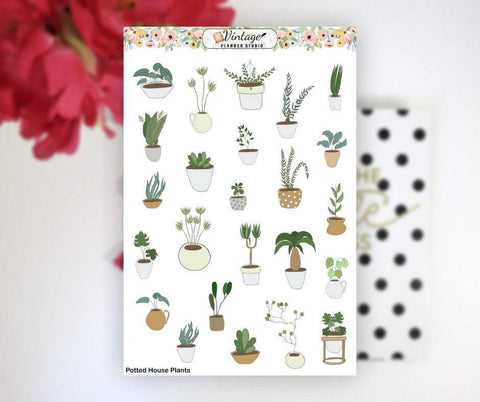 Potted House Plants Clipart Planner Stickers - Vintage Planner Studio