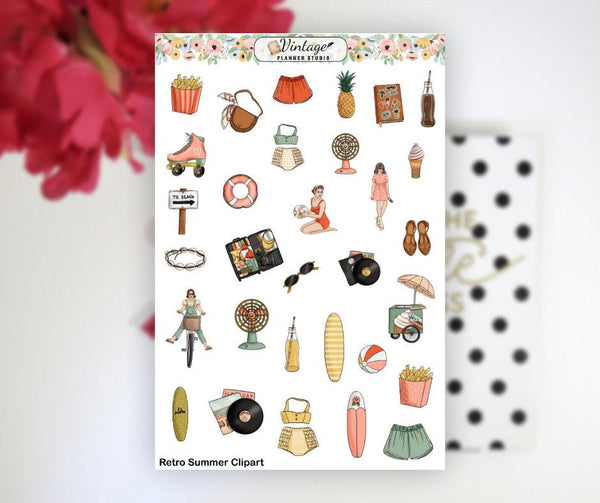 Retro Summer Clipart Planner Stickers - Vintage Planner Studio