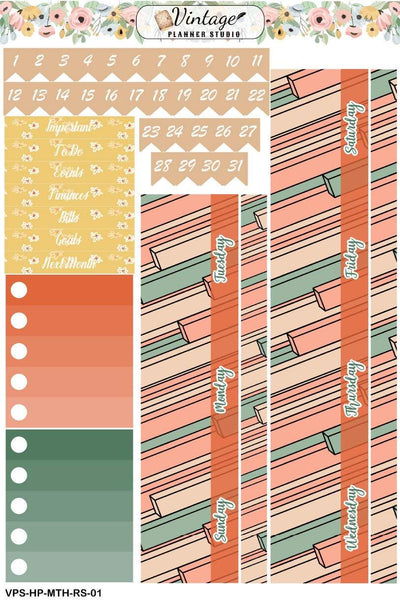 Retro Summer Monthly Kit | Classic Happy Planner - Vintage Planner Studio