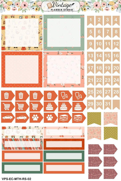 Retro Summer Monthly Kit | Erin Condren Vertical - Vintage Planner Studio