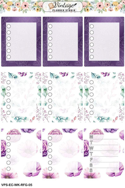 Rustic Floral Garden Weekly Sticker Kit | EC Style | VERTICAL | 7 Sheet Kit Plus Date Dots & Die Cuts - Vintage Planner Studio