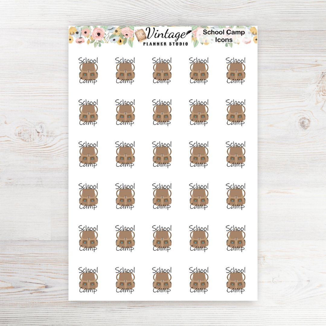 School Camp Planner Stickers - Vintage Planner Studio