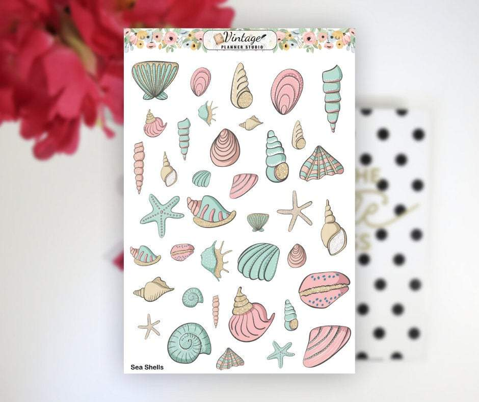 Sea Shells Clipart Planner Stickers - Vintage Planner Studio