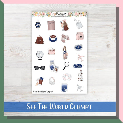 See The World Clipart Planner Stickers - Vintage Planner Studio