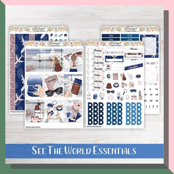 See The World Essentials Weekly Sticker Kit | EC Style | VERTICAL | 4 Sheet Kit - Vintage Planner Studio