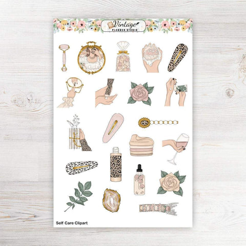 Self Care Clipart Planner Stickers - Vintage Planner Studio