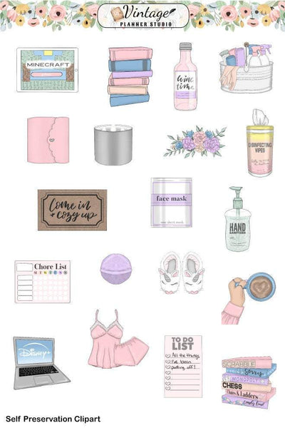 Self Preservation Clipart Planner Stickers - Vintage Planner Studio