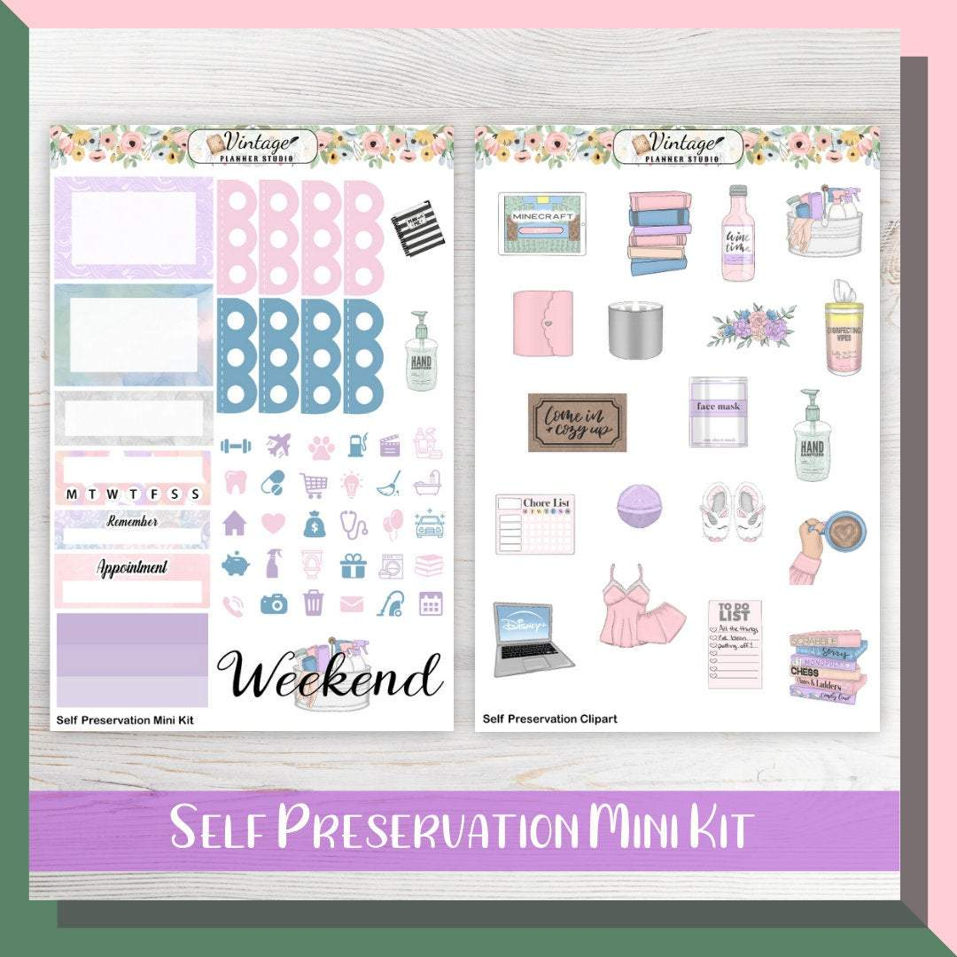 Self Preservation Mini Kit | Planner Stickers - Vintage Planner Studio