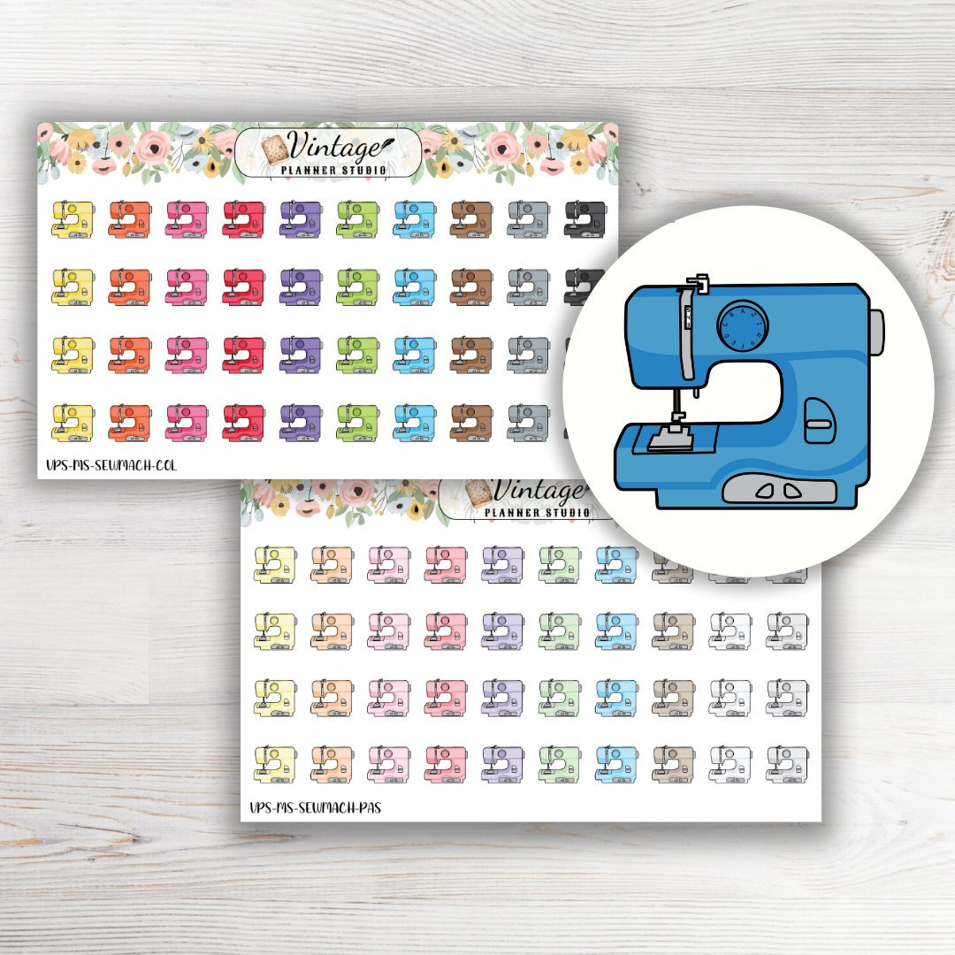 Sewing Machine Mini Icon Planner Stickers - Vintage Planner Studio