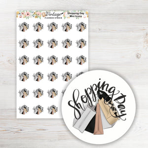 Shopping Day Icon Planner Stickers - Vintage Planner Studio