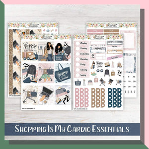 Shopping Is My Cardio Essentials Weekly Sticker Kit | EC Style | VERTICAL | 4 Sheet Kit - Vintage Planner Studio
