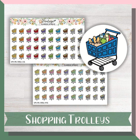 Shopping Trolleys Mini Icon Planner Stickers - Vintage Planner Studio