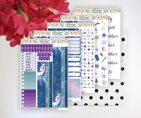 Sleepy Little Dragons Monthly Kit | Classic Happy Planner - Vintage Planner Studio